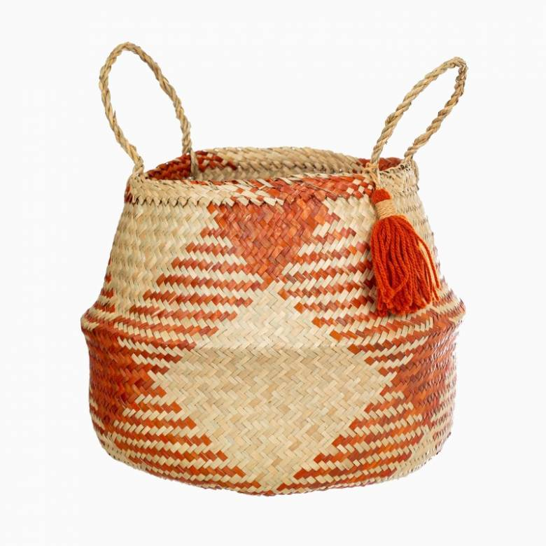 Terracotta Checked Seagrass Basket With Handles H:30cm