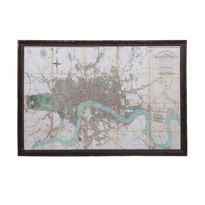 Giant Framed Map Of London & River Thames