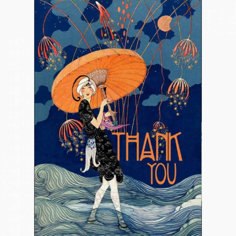 Thank You Glitter Evening Fireworks - Greetings Card