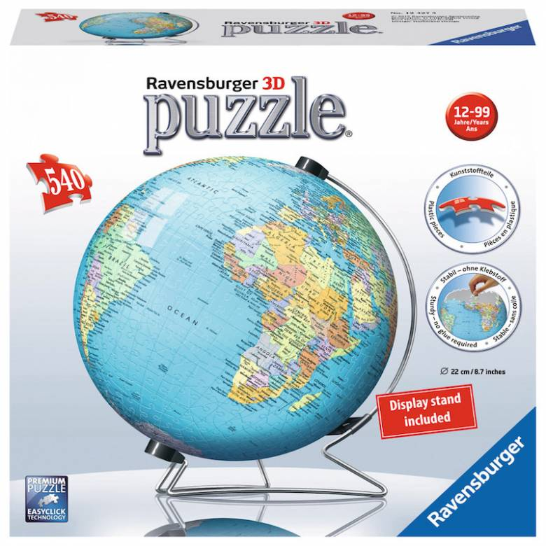 The World Globe on V-Stand 3D Puzzle®, 540pc By Ravensburger.