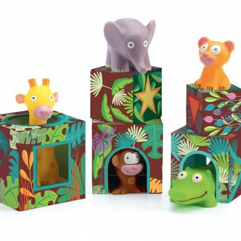 Topanijungle Cubes and Animals Stacking Game By Djeco 18m+