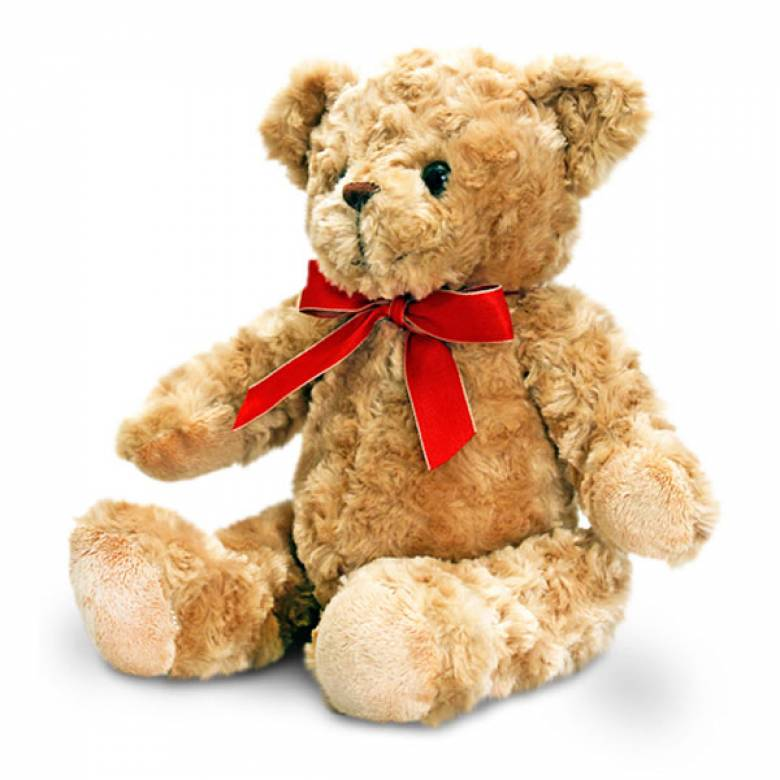 Traditional Teddy Bear With Red Ribbon 30cm
