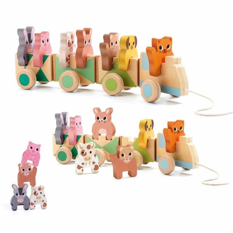Trainimo Farm Animal Wooden Pull Along Train Toy 18m+