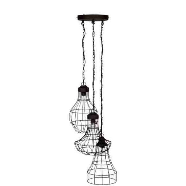 Industrial Wire Cluster Trio Pendant Electrified Light Shades