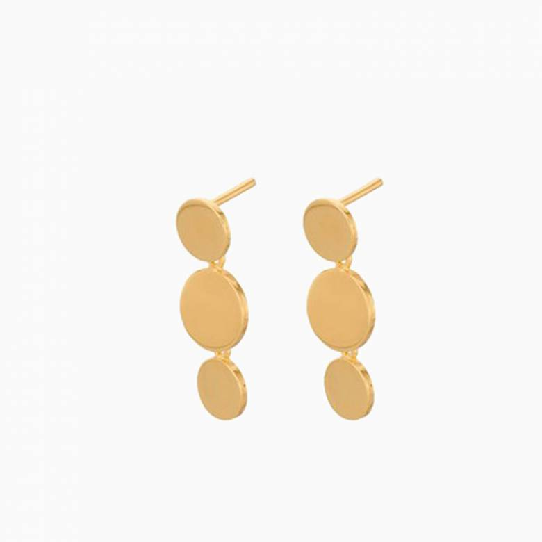 Triple Sheen Stud Earrings In Gold By Pernille Corydon