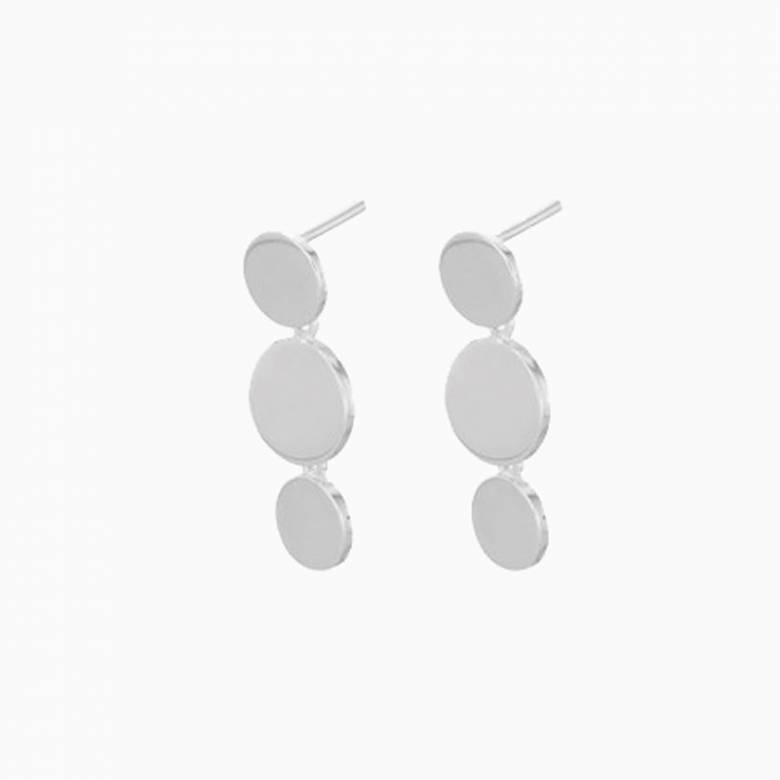 Triple Sheen Stud Earrings In Silver By Pernille Corydon