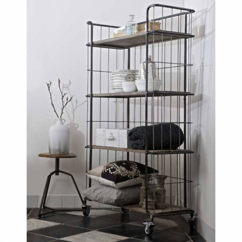 Giro Trolley Large Wood Shelves Wire On Castors