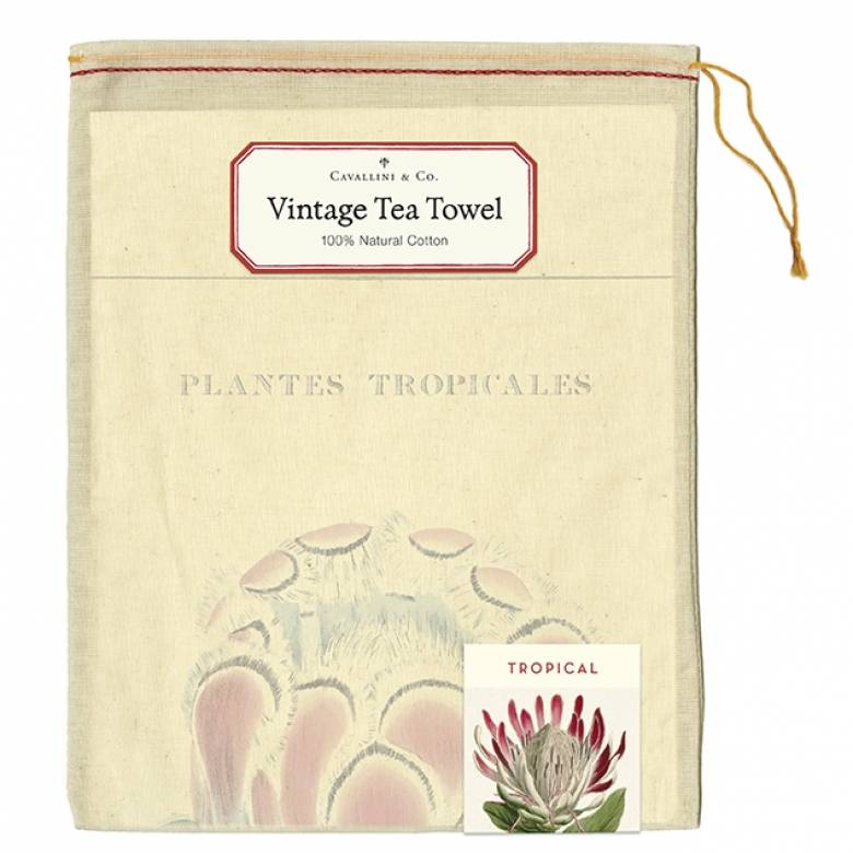 Tropical Plants Cotton Tea Towel With Gift Bag