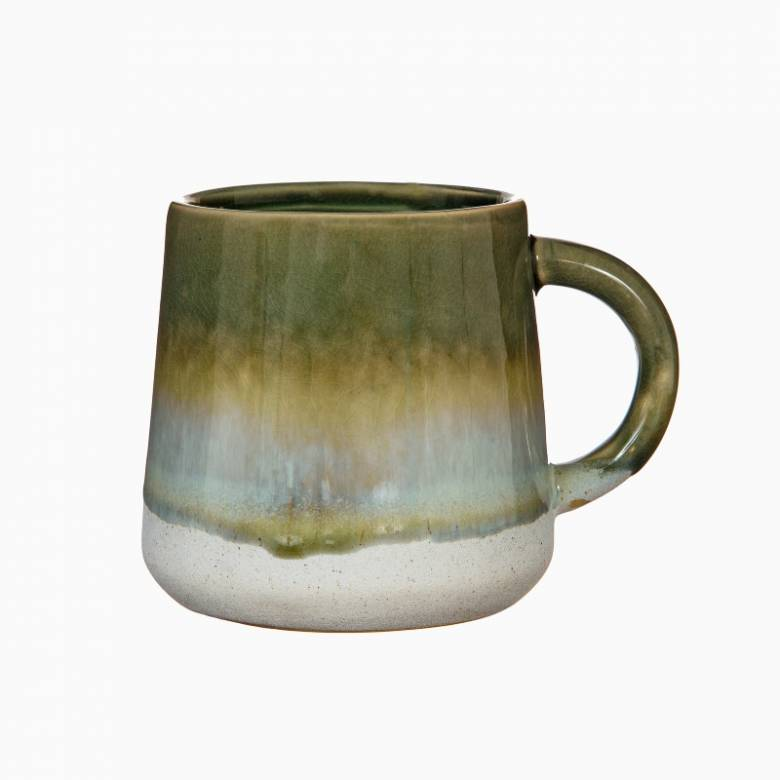 Two Tone Dip Glazed Stoneware Mug In Green