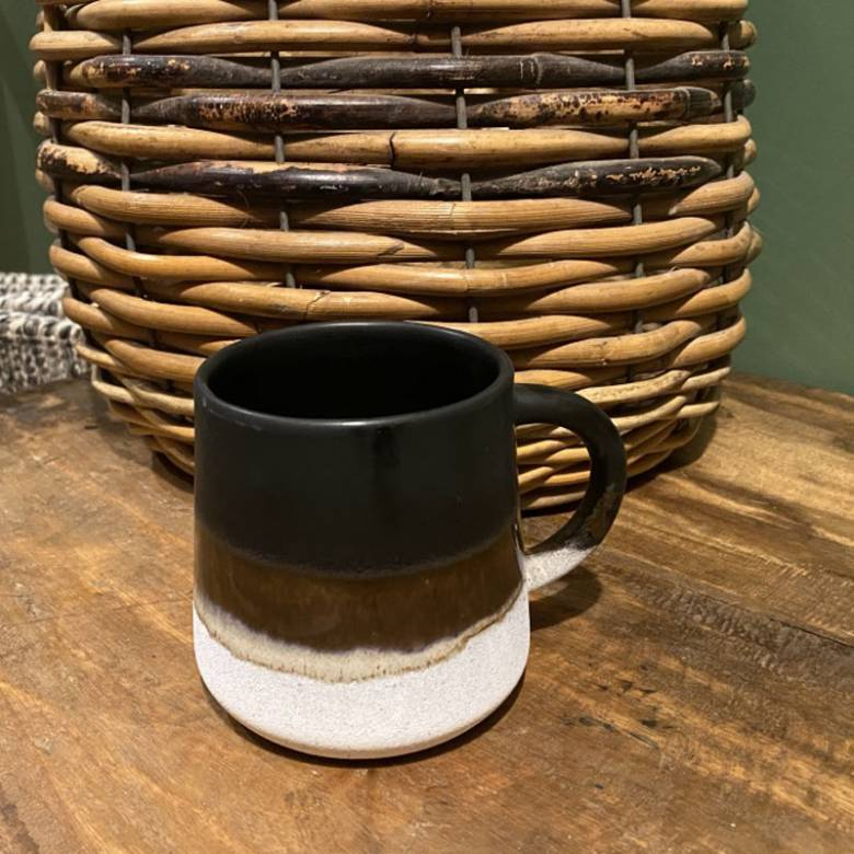 Two Tone Dip Glazed Stoneware Mug In Black