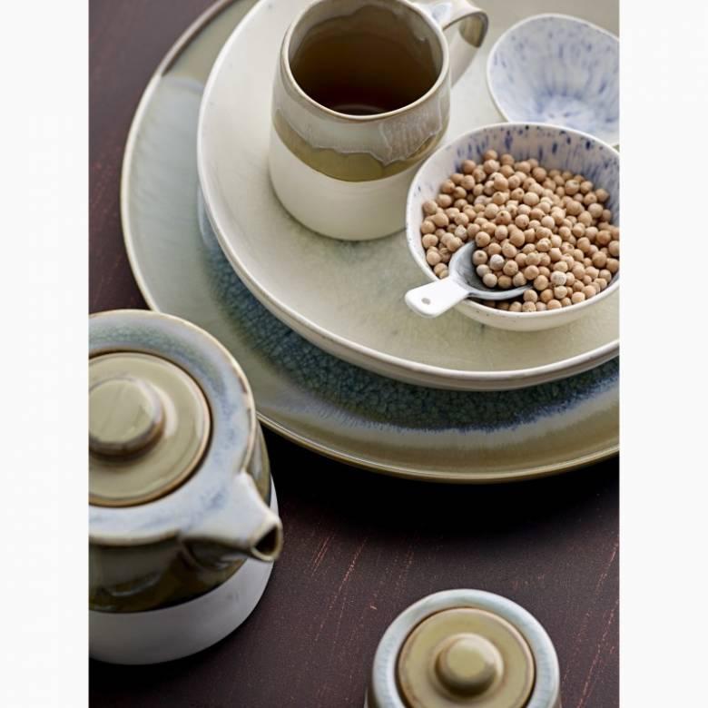 Two Tone Stoneware Glazed Teapot In Green