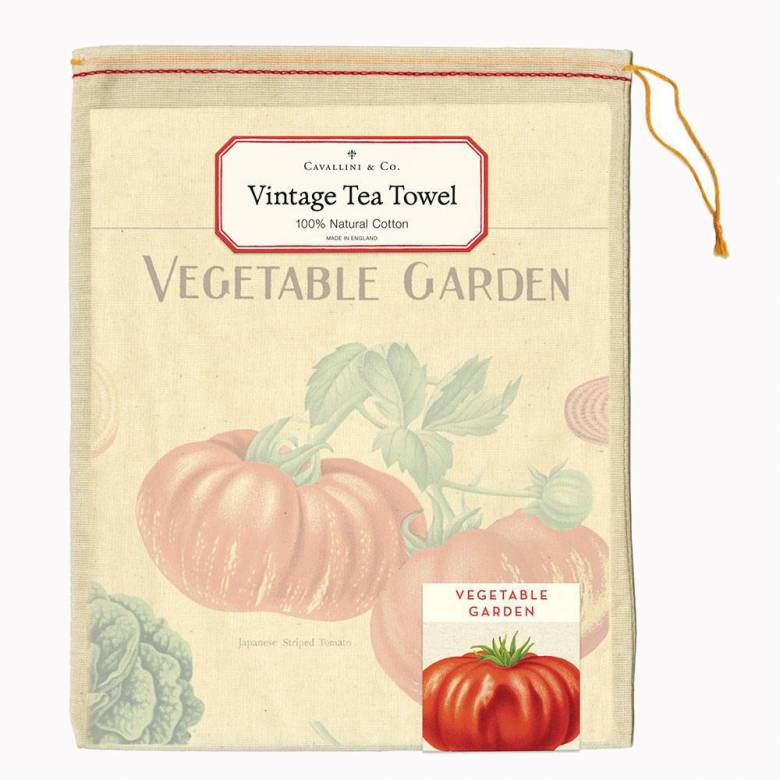 Vegetable Garden Cotton Tea Towel With Gift Bag