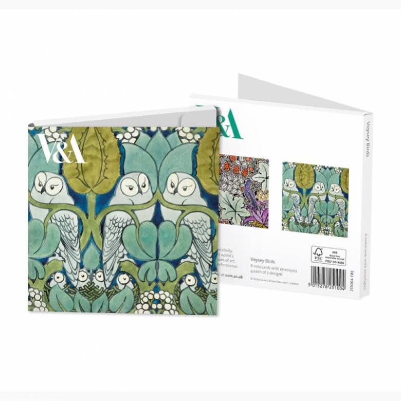 Voysey Owls - Pack Of 8 Notecards & Envelopes