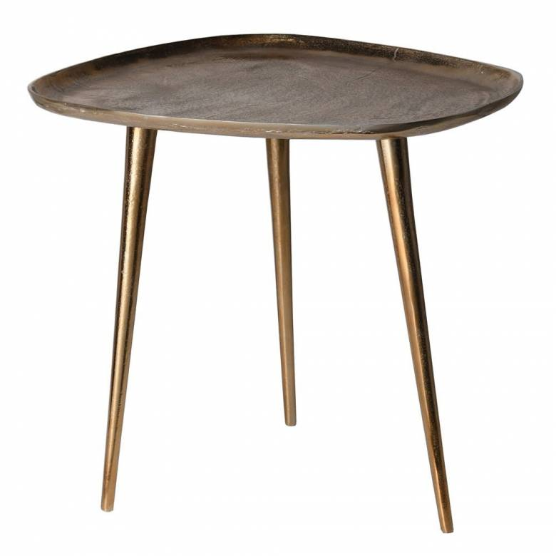Organic Shaped Gold Side Table With Tripod Legs H:48cm