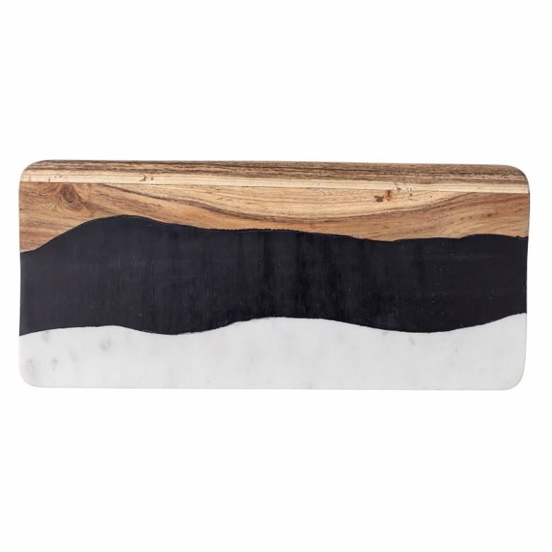 Wave Effect Wood & Marble Chopping Board