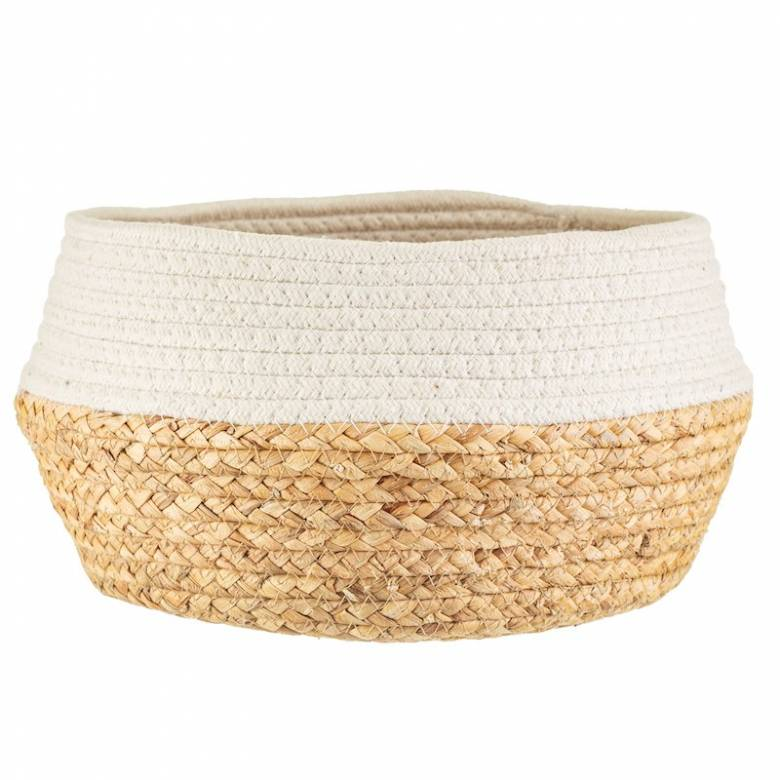 White Dip Rope & Grass Basket