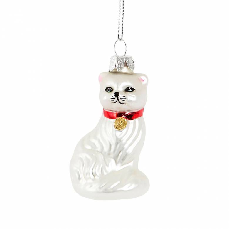 White Persian Cat Glass Christmas Decoration