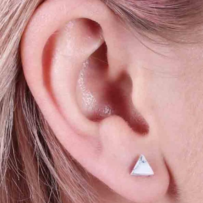 White Howlite Triangle Stud Earrings Lisa Angel