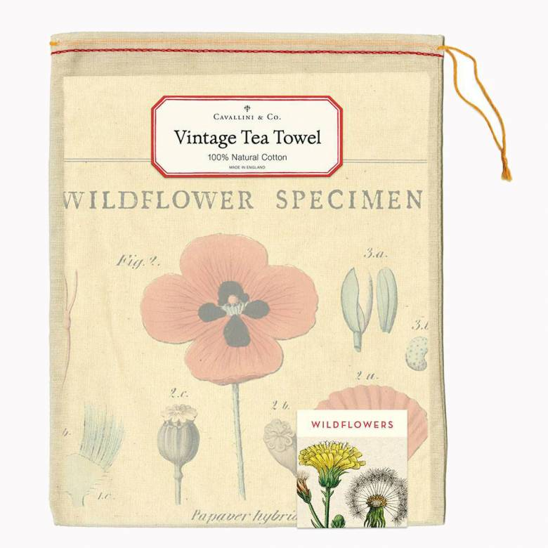 Wildflowers Cotton Tea Towel With Gift Bag