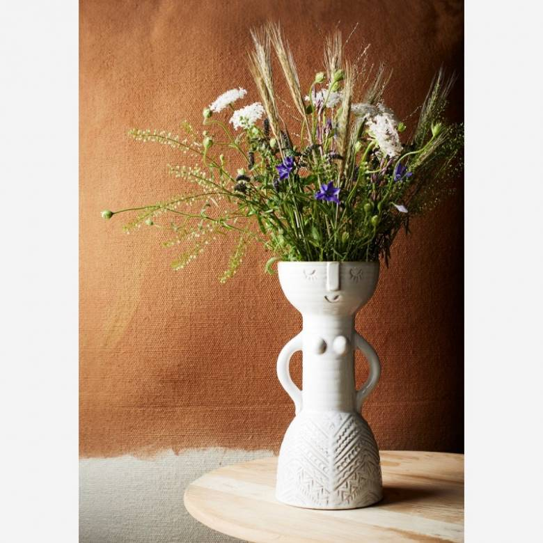 Woman Imprint Stoneware White Vase