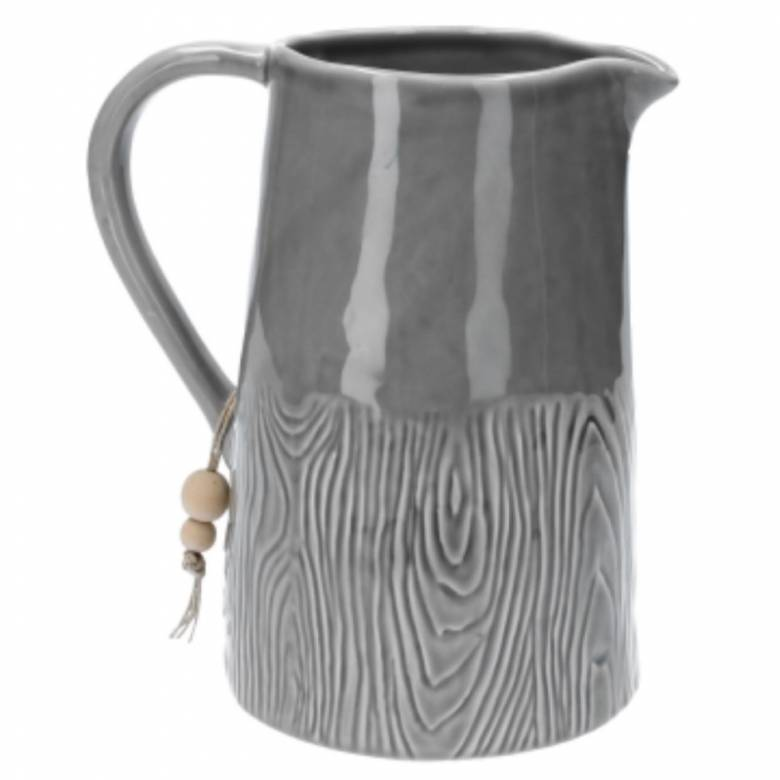 Wood Effect Ceramic Jug In Grey
