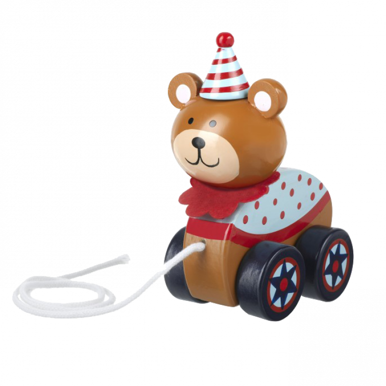 Wooden Circus Bear Pull Along Toy 1+