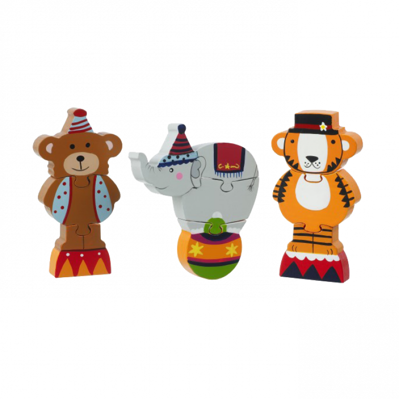 Circus Mini Puzzles - Set Of 3 Wooden Puzzles 1+