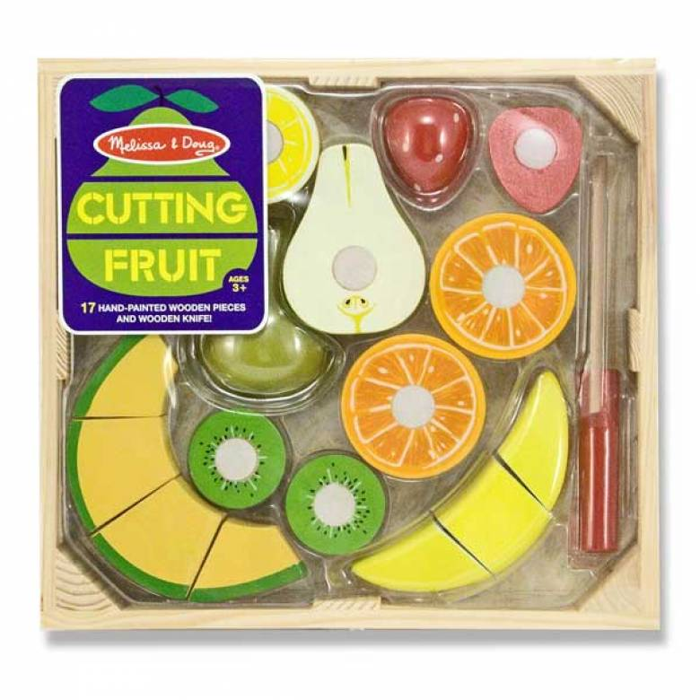 Wooden Cutting Fruit Play Food Set 3+
