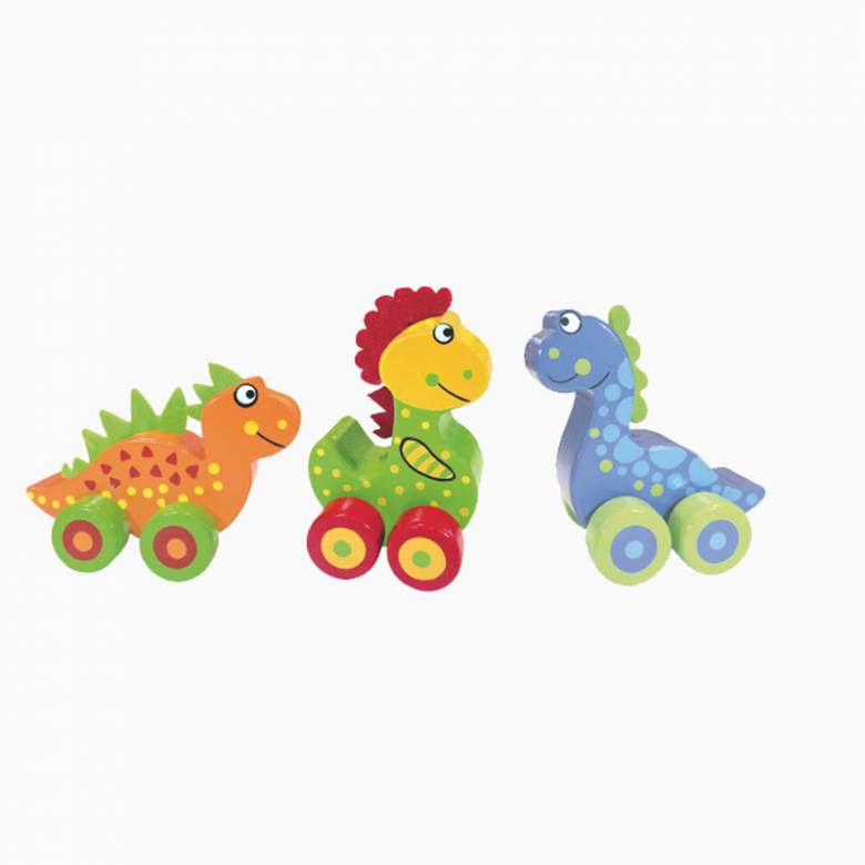 Wooden First Dinosaurs On Wheels 1+