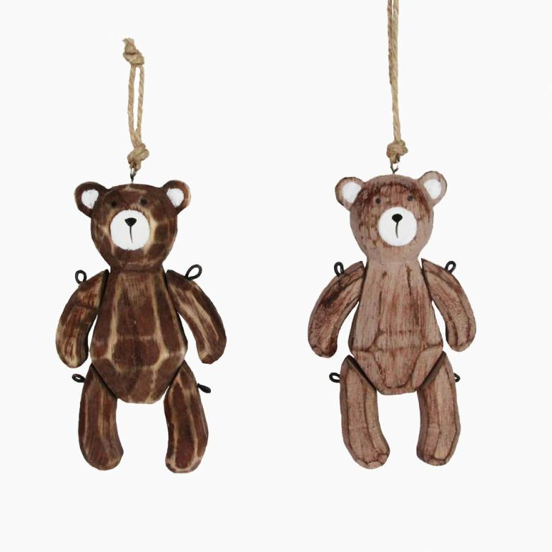 Wooden Jointed Teddy Bear Christmas Decoration