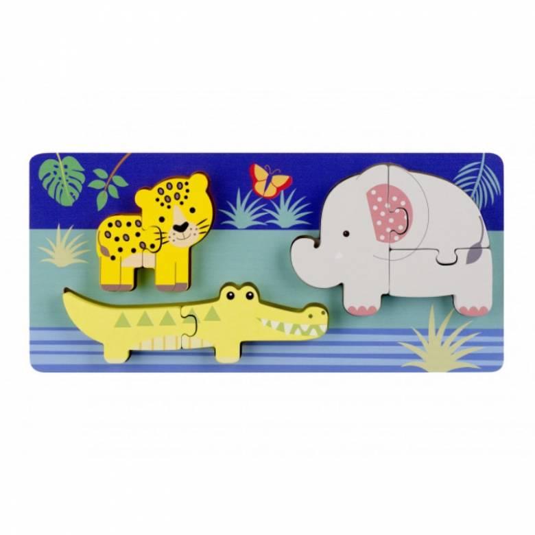 Wooden Jungle Animals Mini Puzzle Tray 1+