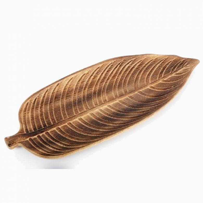 Large Wooden Leaf Dish