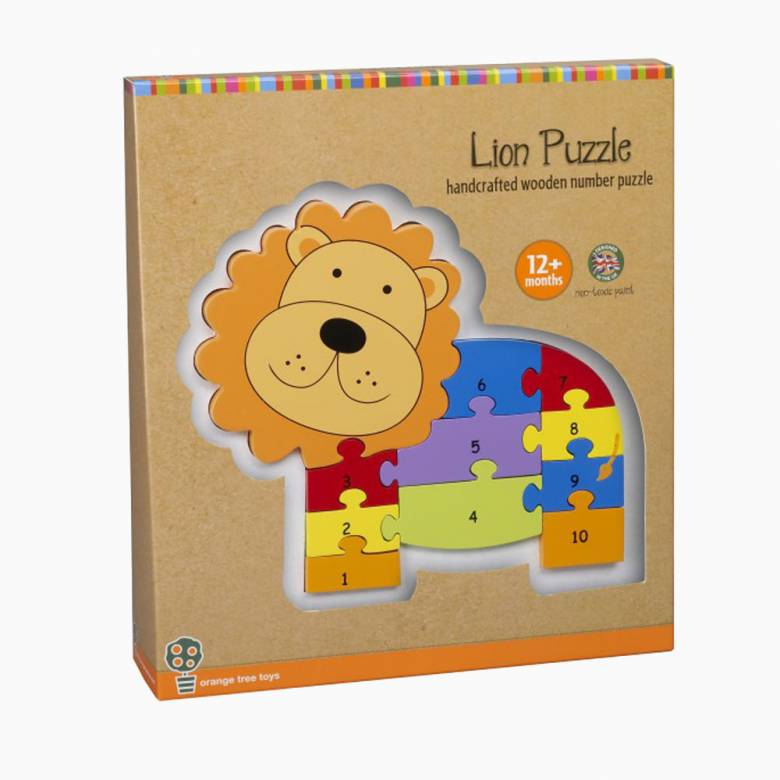 Wooden Lion Number Puzzle By Orange Tree Toys 1+