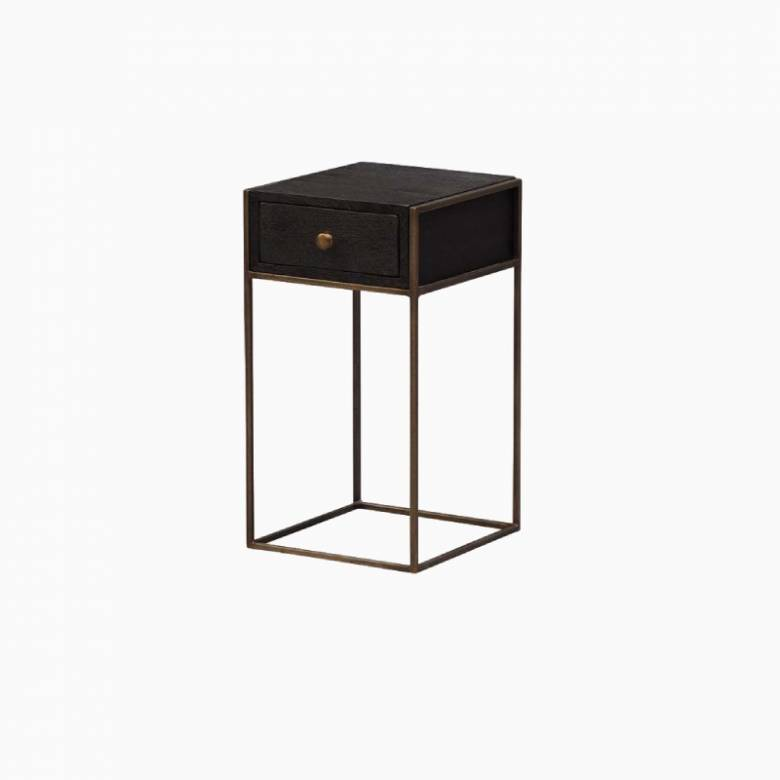 Wooden & Metal Bedside Table With Drawer