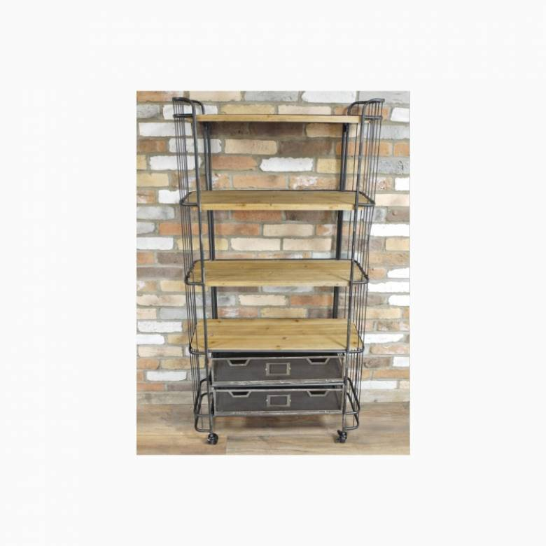 Wooden & Metal Shelving Unit With Drawers On Castors