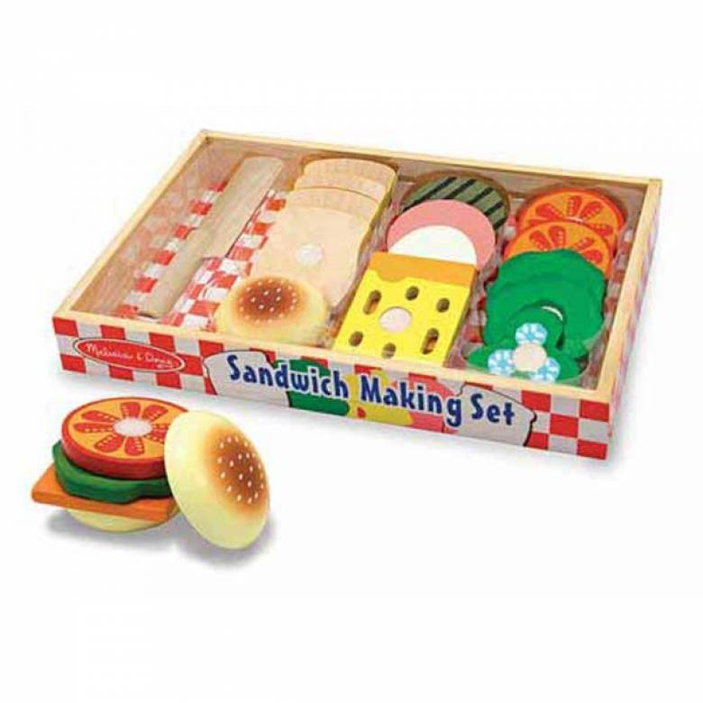 Wooden Sandwich Making Play Food Set 3+