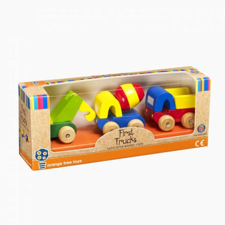 Wooden Set Of First Trucks By Orange Tree 1+