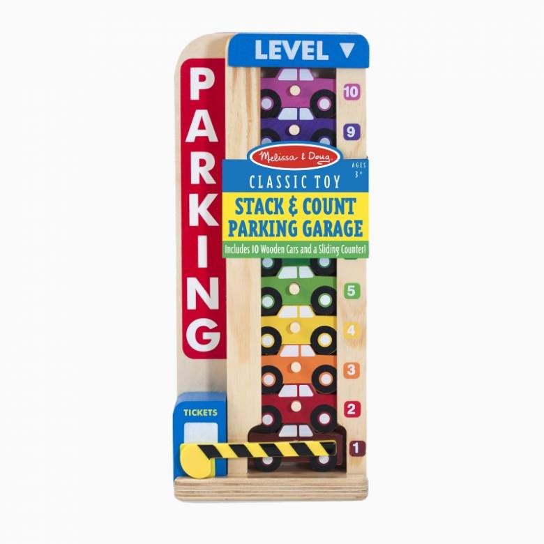 Wooden Stack & Count Parking Garage By Melissa & Doug 3+