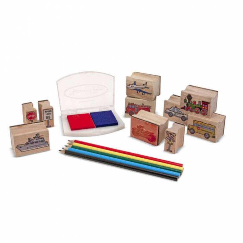 Wooden Stamp Set - Vehicles 4+