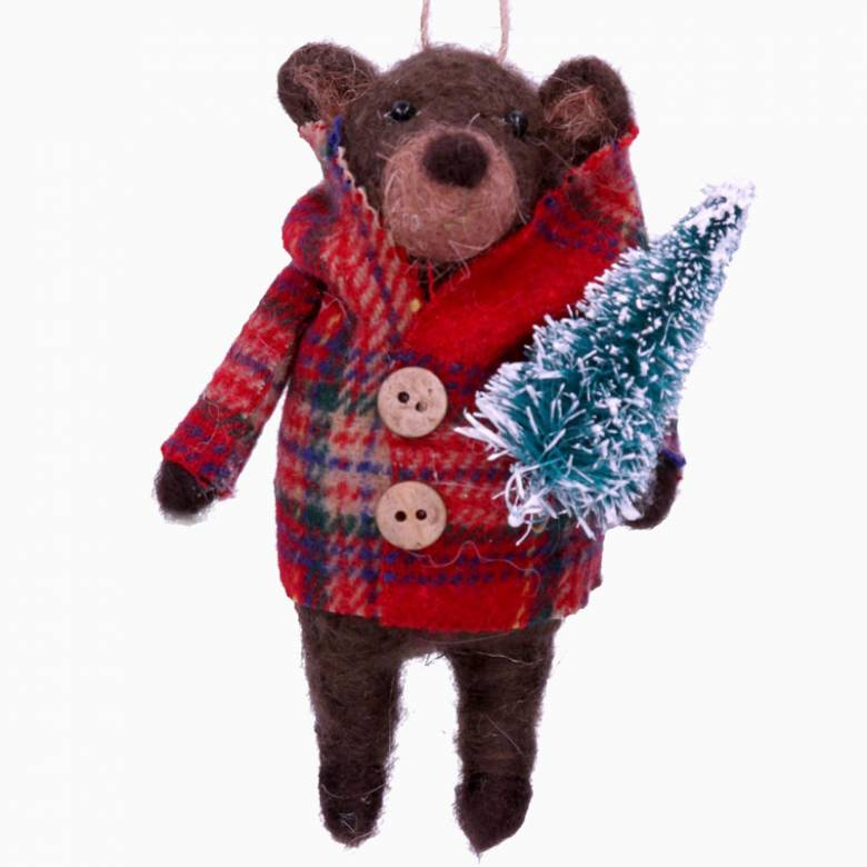Wool Bear With Coat & Tree Christmas Decoration By Gisela Graham