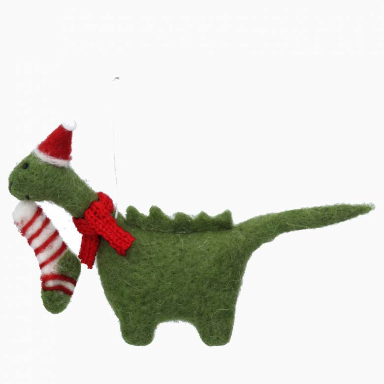 Wool Dinosaur With Hat Christmas Decoration By Gisela Graham