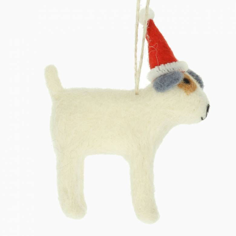 Wool Dog With Santa Hat Christmas Decoration