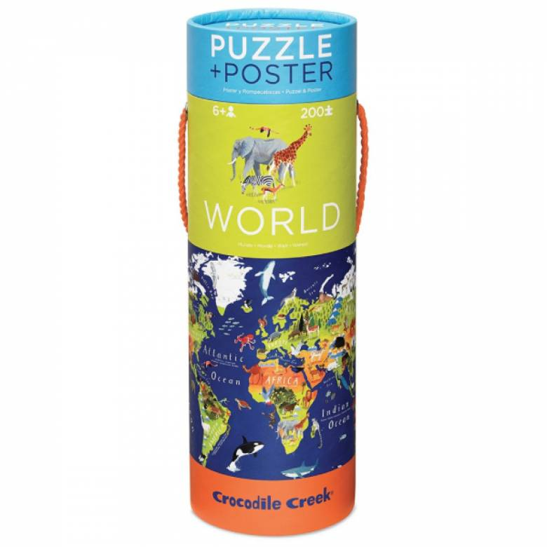 World Poster And 200 Piece Puzzle Set In Tube 6+