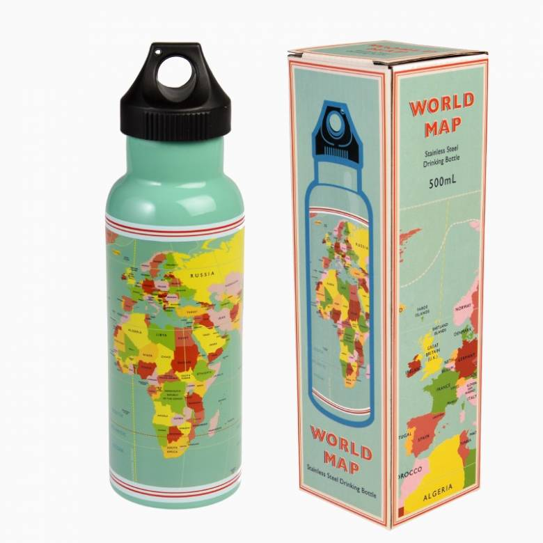 World Map Stainless Steel Water Bottle