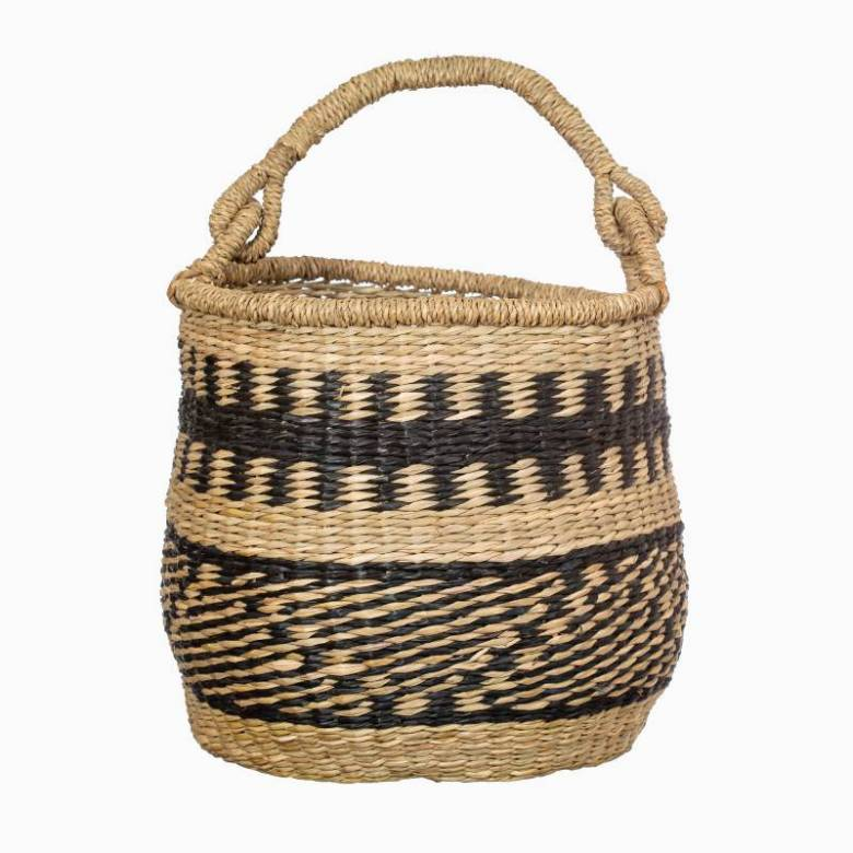 Woven Seagrass Basket With Handle & Black Decorative Pattern