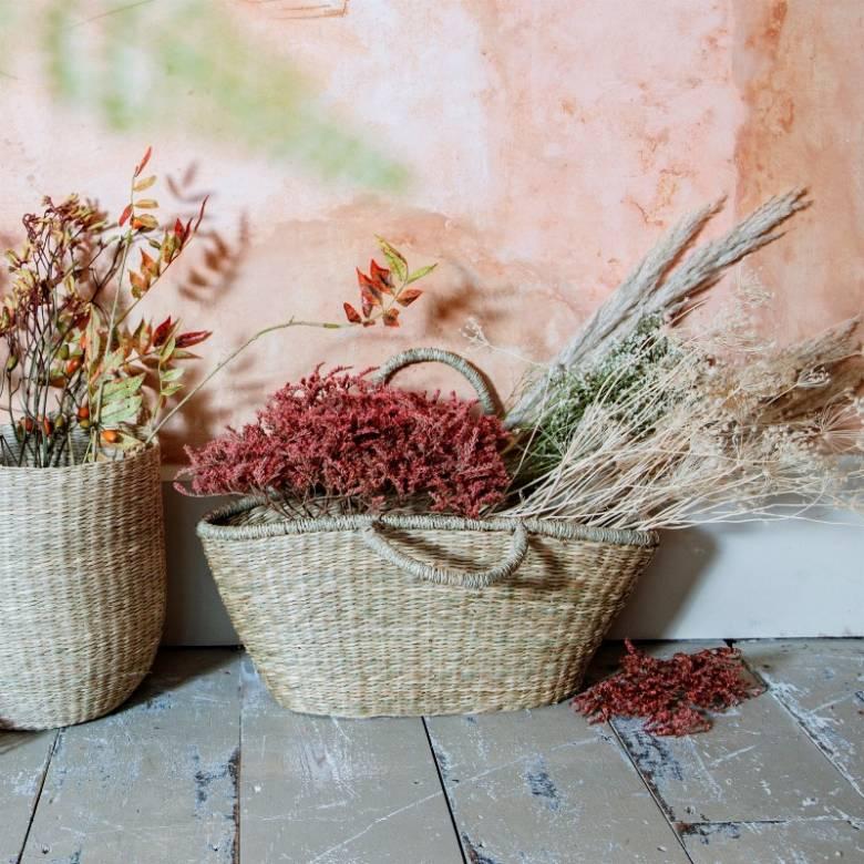 Woven Seagrass Shopping Basket
