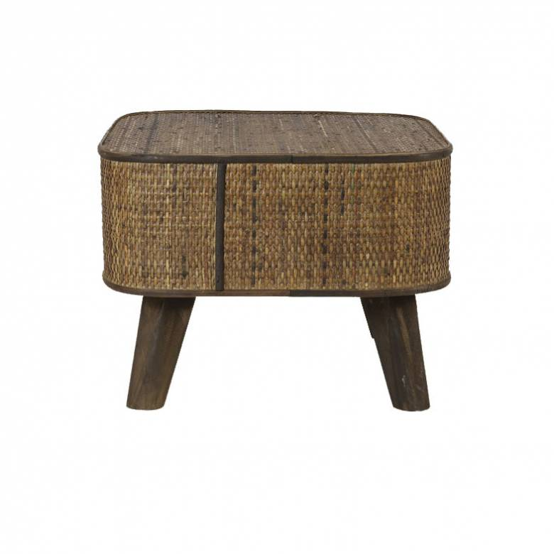 Canya Rectangular Woven Cane Side Table In Dark