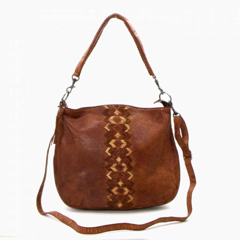 Woven Zig Zag Panel Leather Shoulder Bag - Cognac