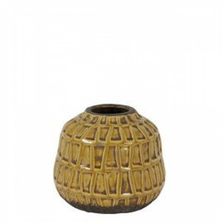 Mustard Deco Vase 20x17cm