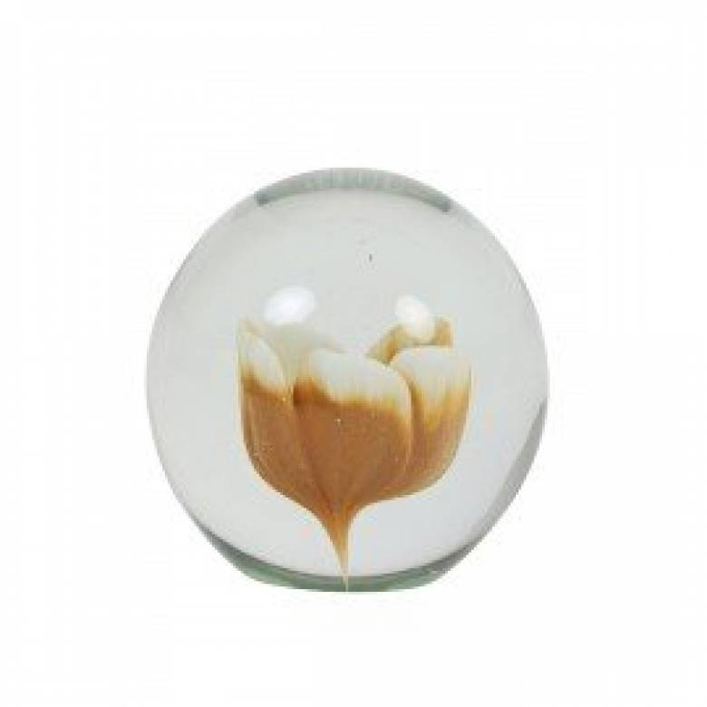 Glass Ochre Flower Paperweight 10x10cm